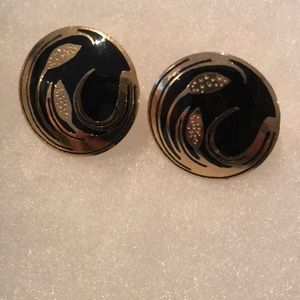 Laurel Burch style black and gold earrings